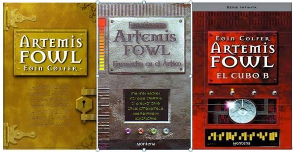Tres libros anteriores de la saga: Artemis Fowl, Encuentro en el Ártico, El cubo B.