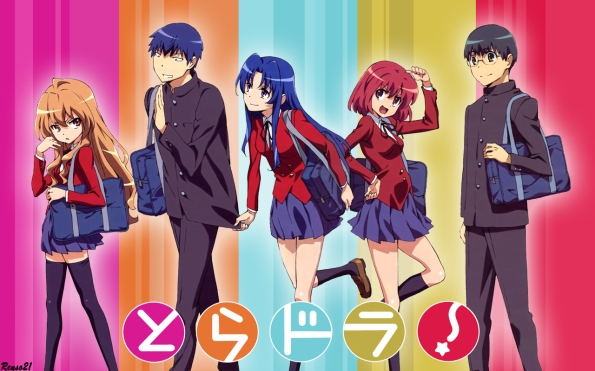 Personajes principales de Toradora de izquiera a derecha: Taiga, Ryuuji, Ami, Minori y  Yuusaku